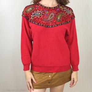 Vintage Beaded Red Sweater